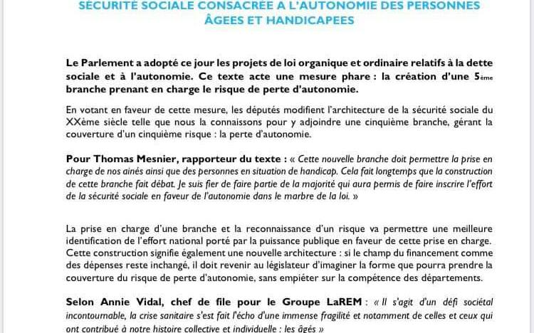 CREATION D'UNE 5ème BRANCHE SECURITE SOCIALE